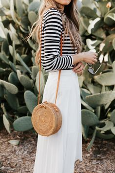 round woven bag and