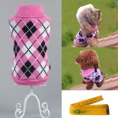Gentle Knitted Turtleneck Chic Argyle Pet Sweater Knitwear for Dogs and Cats (Rose Red and Black, XL) * See this awesome image  : Dog sweaters
