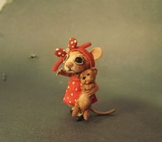 Aleah Klay Studio: Miniature Mouse w/ puppy one of a kind sculpture b...