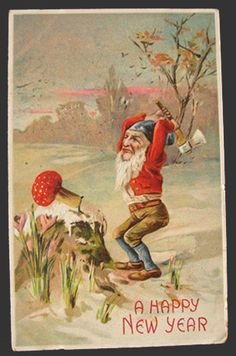 Gnome Chops Down Toadstool Vintage New Year Postcard- It really looks like January!