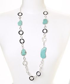 Look what I found on #zulily! Silver & Turquoise Circle Link Necklace #zulilyfinds