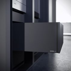 H.01 #kitchen program by HeronLab, made of #fenixNTM black ingo and #stainless steel worktop. #design #architects #interiordesign #madeinitaly #blackkitchens