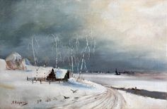 Winter - Alexei Kondratyevich Savrasov - The Athenaeum Russian Landscape, Landscape Art, Landscape Paintings, Russian Art, Photo Wall, Snow, Watercolor, Winter, Illustration
