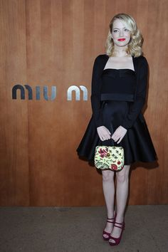 Miu Miu Spring 2012 Printed Bag, Dana Rebecca Designs Sylvie Rose Earrings & Prada Mary Jane Platform Pump