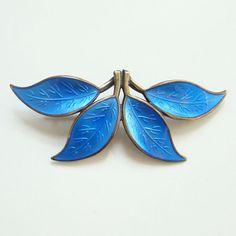 Vintage David Andersen Modernist Blue Enamel Leaf Link Bracelet Sterling Silver Norway Norwegian Signed by redroselady on Etsy