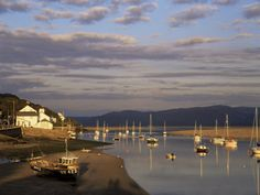 """""""Boats in the Evening Sun at Low Tide on the Dovey Estuary, Aberdovey, Gwynedd, Wales... Heavenly"""