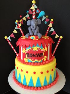 Adorable circus theme elephant birthday cake!!