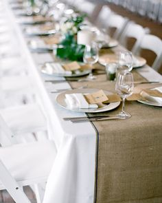 Table runner against white tablecloth