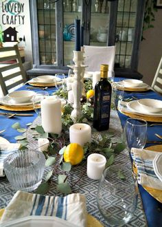 It's been a little while since I've hosted a dinner party (well, aside from Thanksgiving). Greek Party Decorations, Table Decorations, Mallorca Party, Fresco, Greek Christmas, Greek Decor, Greek Dinners, Dinner Party Table, Dinner Themes
