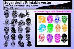 sugar skull silhouette clipart svg illustration By ArcsMultidesignsShop