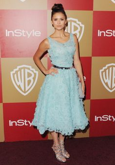Fabulously Spotted: Nina Dobrev Wearing Oscar de la Renta 2013 InStyle Golden Globe Awards After Party