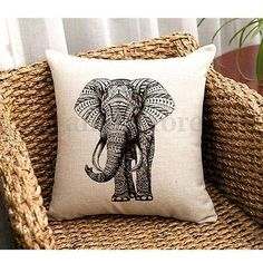 Clearancepillow cases zyooh cotton linen world map printed throw indian elephant cotton linen throw pillow case sofa cushion cover home decor gumiabroncs