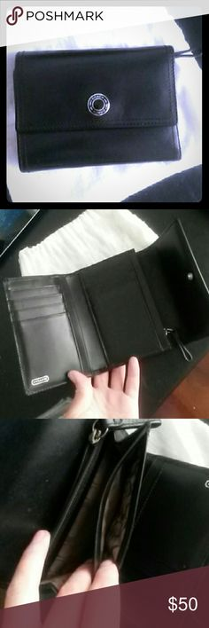 COACH BLACK LEATHER high capacity wallet Practically new  Used a few times gently  Leather still stiff Coach Bags Wallets
