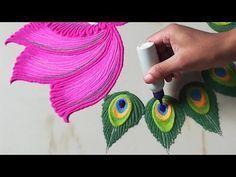 Lotus Rangoli | Peacock Feather Rangoli by Sangeeta | Navratri Durga Puja Laxmi Pooja Diwali Rangoli - YouTube