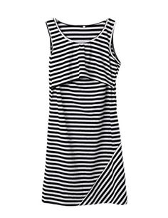 Womens Breastfeeding and Maternity Nursing Striped Sleeveless Pregnant Dress M BlackStriped *** Find out more about the great product at the image link. #MaternityTopsBlouses
