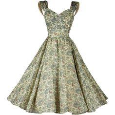 Vintage 1950's Paisley Organza Rhinestone Dress (4.895.170 IDR) ❤ liked on Polyvore