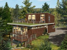 Prefab homes and modular homes in Canada: Bonneville Homes - Prefabricated House Prefab Homes Canada, Modern Prefab Homes, Prefabricated Houses, Modular Homes, Building Systems, Building Materials, Chalet Quebec, Pre Built Homes, Prefab Cottages