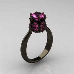 14K Black Gold 1.0 Carat Pink Sapphire Tulip Solitaire Engagement Ring NN119-14KBGPS. $1,899.00, via Etsy.
