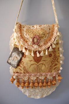 Romantic Bohemian Gypsy Purse,lace and beaded fringe,velvet,embellished with vintage jewelry