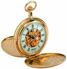 Woodford Skeleton Full-Hunter Pocket Watch, 1038, Mens Gold-Plated Twin-Lidded  with Chain (Suitable for Engraving) @ £80.54