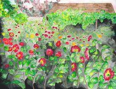 late summer garden  watercolor 1994 42x24 l.stilnovich