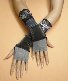 Segmenté Steampunk Fingerless gants manches noir par littlegallery