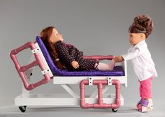 Hospital Bed for American Girl or dolls; adjustable bed by DrAvaMedical on E… - American Girl Dolls American Girl Furniture, Girls Furniture, Doll Furniture, Ropa American Girl, American Girl Crafts, American Dolls, Ag Dolls, Girl Dolls, American Girl Doll Hospital