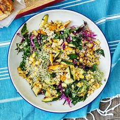 Grilled Squash, Corn and Kale Salad with Sunflower Seed Vinaigrette | Food & Wine