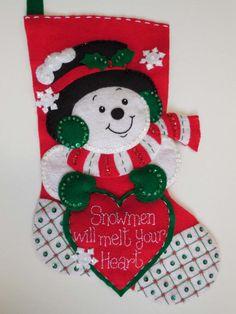 Finished 15 Christmas Stockinhg Snoman Melt Your Heart Santa Stocking, Felt Stocking, Felt Christmas Stockings, Christmas Crafts, Christmas Ornaments, Snowman Crafts, Felt Crafts, Christmas Wonderland, Felt Applique