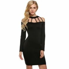 Zeagoo Women Sexy Hollow Off Shoulder Long Sleeve Bodycon Stretch Mini Dress
