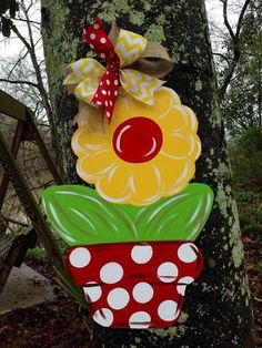 Yellow Flower in Polka Dotted Pot Door Hanger by WhimsyGirlArt, $35.00 Wooden Shapes, Wooden Cutouts, Burlap Crafts, Wooden Crafts, Painted Doors, Wood Doors, Burlap Signs, Wooden Door Hangers, Front Door Decor
