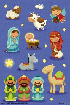 Check your Christian bookstore to see if there are any Christmas stickers you can purchase and add to your next letter! Christmas Nativity Scene, Noel Christmas, Christmas Images, A Christmas Story, Nativity Scenes, Nativity Clipart, Clipart Noel, Illustration Noel, Christmas Illustration