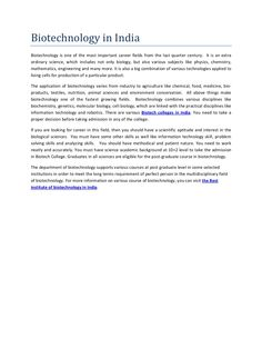 essay on biotechnology