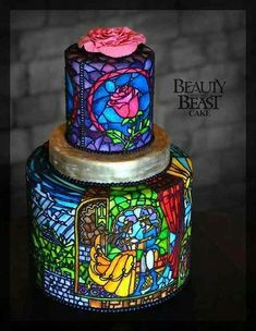 GORGEOUS Beauty and the Beast stained glass tiered cake.