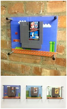 Cool Display Wall-Mounted Mario Games for the original Nintendo NES - http://linkedtothewall.com/