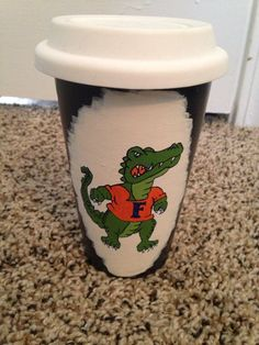 Florida gator to-go mug I hand painted for my dad.