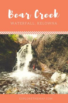 The Bear Creek waterfall at Bear Creek Provincial Park in Kelowna, British Columbia is a perfect summer hike. It's an easy hike that can be done in an afternoon. Whether you're camping, road tripping, or just exploring the Okanagan, you don't want to miss this gem of a hidden waterfall! The Bear Creek Waterfall is part of our Okanagan Bucket List, join us and tick it off as you explore Kelowna and the entire Okanagan #okanagan #hiddenwaterfall #britishcolumbia