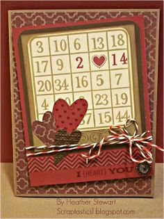 Heather Stewart's Scraptastics - Cool use of bingo card on Valentine. Love the vintage look!