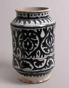 early 15th C. Pharmacy Jar - earthenware with tin glaze. Florence Italy.