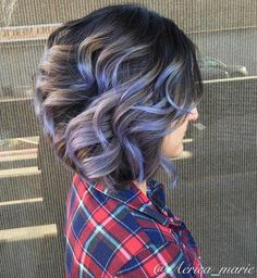Brown Balayage Bob With Purple Highlights: short curls with heavy texture and volume will need definition. Try soft, yet unconventional dark hair color ideas like silver metallic or pastel highlights on the dark base for a unique hairdo. Ash Brown Hair Color, Brown Hair With Highlights, Hair Color Highlights, Purple Hair, Pastel Purple, Pastel Shades, Brunette Highlights, Brown Colors, Ash Grey