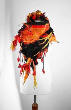 Wool Scarf Designer Scarf Felted Scarf Wrap Nunofelt by filcant