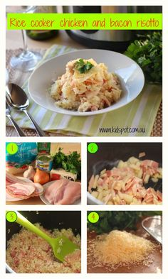 Rice cooker chicken and bacon risotto recipe    This delicious rice cooker chicken and bacon risotto is the perfect one pot dish and makes great use of your rice cooker.
