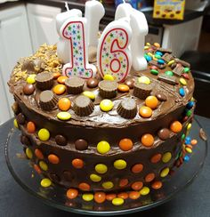 food-porn-diary:  Butterfinger, M&Ms, and Reese's B-Day cake my wife made