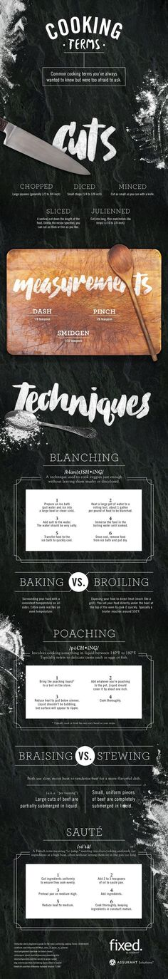 Cheat Sheet to Common Cooking Terms - a handy infographic explaining cooking techniques such as julienned, mincing, blanching, poaching, and braising. Infographic via Fixed by Assurant   StyleCaster.com