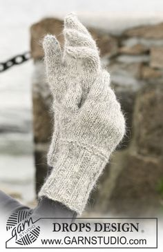 """Enchantment / DROPS 102-2 - A set of: DROPS scarf with flounces, beret and gloves in """"Alpaca"""" and """"Vivaldi"""".  - Free pattern by DROPS Design"""