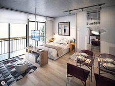 Small Studio Apartment Layout Design Ideas - home design One Room Apartment, Modern Apartment Decor, Small Apartment Interior, Small Apartment Design, Apartment Living, Apartment Ideas, Cozy Apartment, Apartment Furniture, Appartement Design Studio