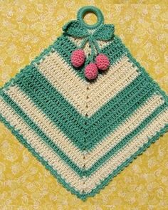 and Cherries Decorative Potholder pattern by Elizabeth Ann White Ravelry: Chevrons and Cherries Decorative Potholder pattern by Elizabeth Ann White Vintage Potholders, Crochet Potholders, Crochet Cushions, Crochet Doilies, Crochet Hot Pads, Crochet Towel, Diy Crochet, Vintage Crochet, Potholder Patterns