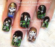 3 Nail Art Tutorials | DIY Halloween Nails!!! | Lawn Gnome Skeletons Des...