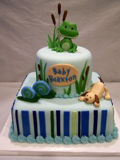 Frogs, snails, and puppy dog tails baby shower cake