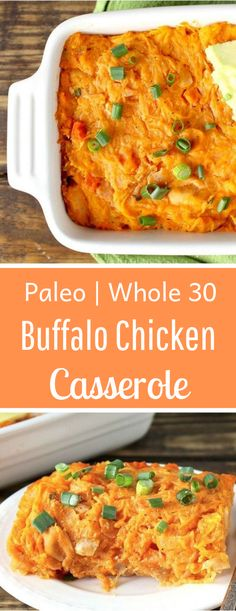 Buffalo Chicken Casserole Paleo Buffalo Chicken Casserole- healthy, full of flavor and pure comfort food! Gluten free, dairy free, low carb and Paleo Buffalo Chicken Casserole- healthy, full of flavor and pure comfort food! Paleo Recipes, Low Carb Recipes, Real Food Recipes, Paleo Casserole Recipes, Paleo Food, Eating Paleo, Easy Recipes, Gluten Free Casserole, Hamburger Recipes